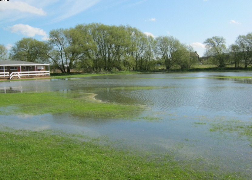 Manor Fields in early May, extensive flooding cover the outfield and square